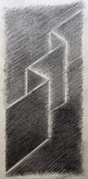 Drawing of Folds 14.5X6.75 graphite and charcoal signed 300