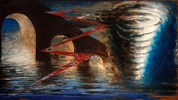 Foul weather at the Aquaduct 16X29 oil on wood oanel signed