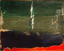 Lightning strike on the 47th yard line 16X20 oil 2014 signed