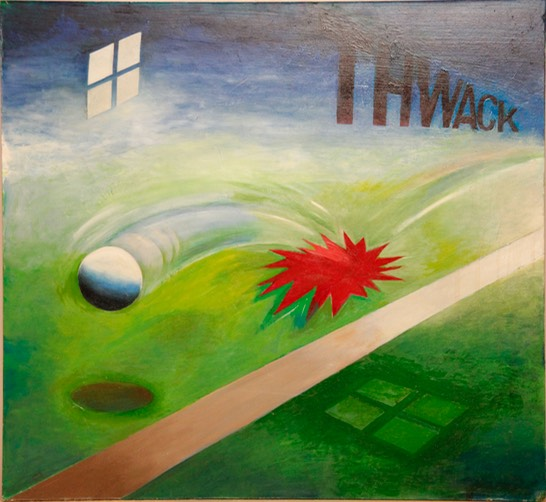 Line Drive 22X24 oil signed Hasheian