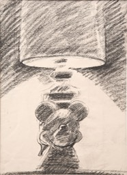 mickey lamp image 11.75X8.5 charcoal signed