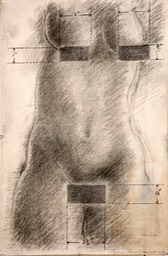 Nude With Measured Censor Marks 16x10.25 pencil charcoal ink signed and initialed