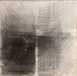 Schism 10.25X10.25 graphite pencil. ebony pencil signed 1966