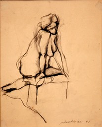 Seated Nude 10.5x8.375 charcoal signed 1961