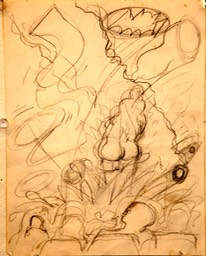 Sketch for Theater painting 9x7.5 pencil