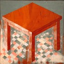 Table on Checkered Floor 16X16 oil on wood panel initialed