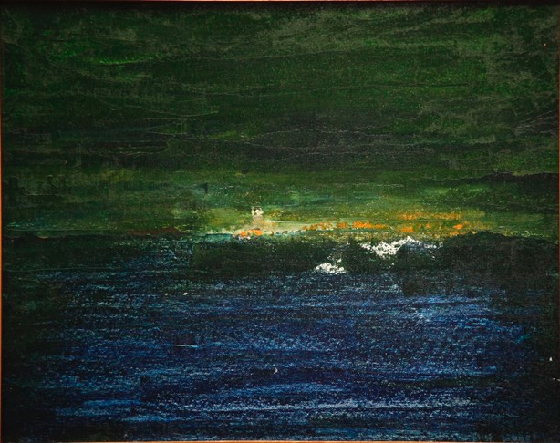 Three A.M.on Lake Erie 16X20 oil on canvas board unsigned