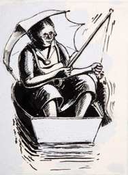 Woman In Boat Fishing 5.25x4 pen ink and guache