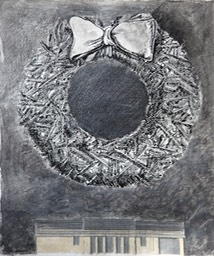 wreath over house 13.5X10.5 pen brish and ink